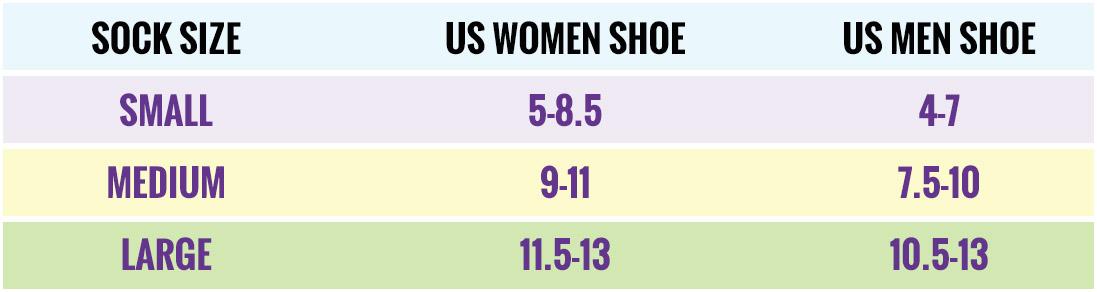 Footwear sizing chart